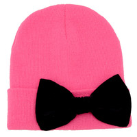 Hot Pink Beanie with Bow