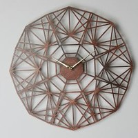Gatehouse Wall Clock, Geo by Anthropologie Brown One Size Clocks