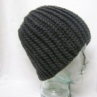 Unisex Crochet Cable Hat Charcoal Grey Crochet Men Women