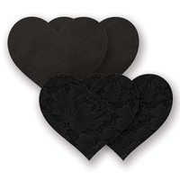 Nippies Black Heart Waterproof Self Adhesive Fabric Nipple Cover Pasties