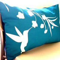 SALE-Teal Hummingbird with Eucalyptus Rectangle Pillow