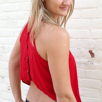 I Want You Back Cropped Button Back Halter Top - Red