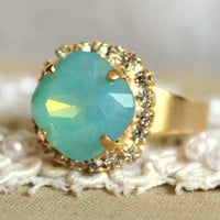 Crystal mint ring -  victorian style 14k plated gold adjustable ring real swarovski rhinestones .