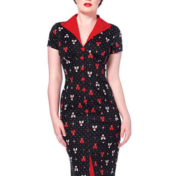 Knock-Em-Down Retro Pencil Dress - PLASTICLAND