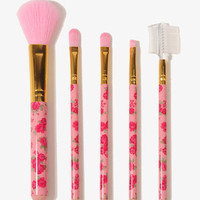 Floral Rose Cosmetic Brush Set