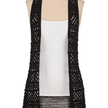 marled back open stitch sweater vest
