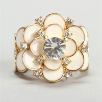 Rhinestone Ivory Rose Ring