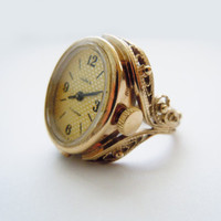 Rare Soviet vintage filigree gold plated Ladies Mechanical Watch ring CHAIKA