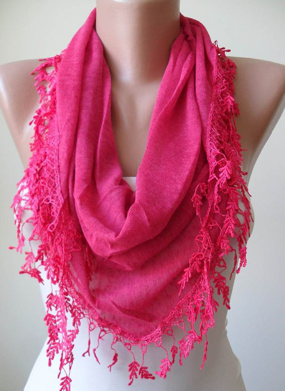 Deep Pink Scarf with Trim Edge - Triangular