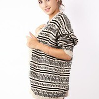 Black and Cream Aztec Print Knit Cardigan