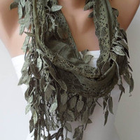 Olive Green - Lace Scarf with Green Trim Edge