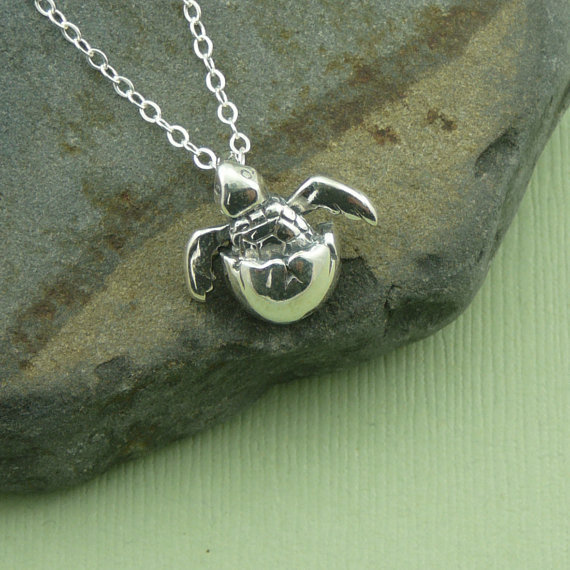 Baby Sea Turtle Necklace, sterling silver turtle, sea turtle in egg necklace