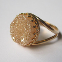 Peach druzy ring