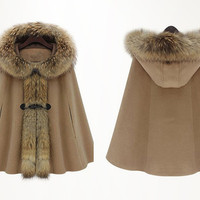 3 colors Raccoon fur collar  Fall Winter Cape Wool Cape Cashmere coat Black coat  button coat winter coat Hood cloak Hoodie cape Hooded Cape