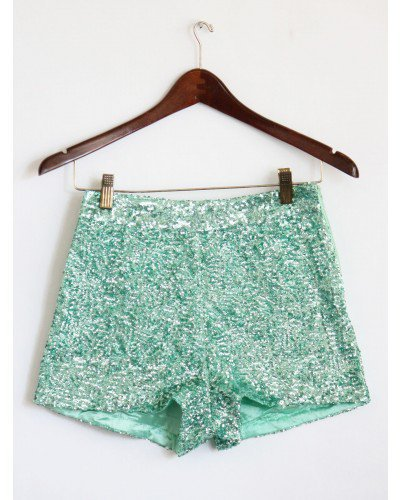 High Waist Mint Sequin Shorts