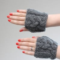 Cable Knit Hand Warmers - Cable Knitted Paws in Grey - Gray