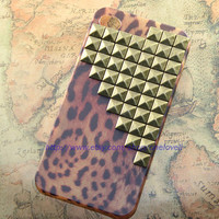Antique brass pyramid stud Leopard case for iPhone 4 Case, iPhone 4s Case, iPhone 4 Hard Case,C1