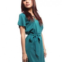 Neon Triangle Back Dress  Green