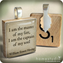 Invictus Quote - a pendant charm made from a Scrabble Game Tile game piece