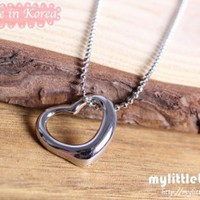 Korean Mini Open Heart Necklace – Silver