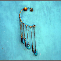 feather and turquoise drop ear cuff, dangle ear cuff, ear piece, tribal ear cuff, feather earring, vintage style