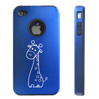 Blue Apple iPhone 4 4S 4G Aluminum hard case D1580 Cute Giraffe Cartoon