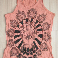 Women&#x27;s size L Cute Om  Sign Yoga Outfit Tank Top Ganesha Buddha T-shirt Boho