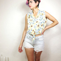 90s Sunflower Grunge Cropped Tank (S)