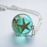 The Mermaid&#x27;s Necklace 13 Nautical Jewelry Resin Starfish Tiny Seashells Aqua Specimen Necklace Fairy Tale Fantasy Unique Handmade