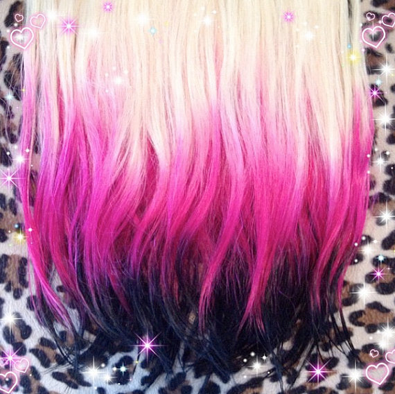 Hot pink to black // platinum ombre hair from ...