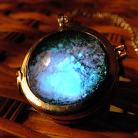 Glow In The Dark Glass Orb Galaxy Necklace