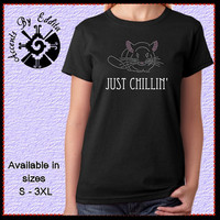 Rhinestone Just Chillin T Shirt or Tank in sizes S - 3XL perfect gift for Chinchilla Lovers anywhere