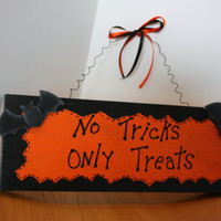 "Halloween Sign Wood ""No Tricks Only Treats"" Wall Hanging"