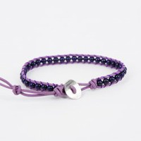 Dark Amethyst Round Beads Single Wrap Bracelet : OrHere