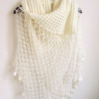 Bridal Shawl OFF-WHITE -Ivory Mohair Honey Comb Shawl-wedding bridal shawl.knitting,necktie,shrug, wrap, stole, capelet, cream, scarflette,