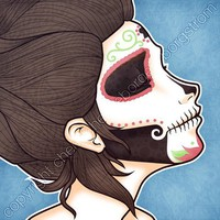Sugar Skull Profile by cheeseborger on Etsy