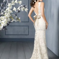 Simple V back Lace Wedding Dress