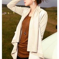 Women Beige Long Sleeve Korea Style Faux Suede and Linen One Size Outerwear @HX1504b