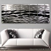 Metal Abstract Wall Painting / Black Silver Wild Ways Multiple Panel Sculpture