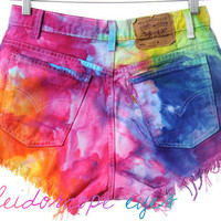 Vintage Levis High Waist MARBLED Rainbow Dyed Denim Cut Off Shorts XL