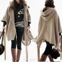 2 COLORS Autumn Wool Long Knitted Coat Sweater Cape
