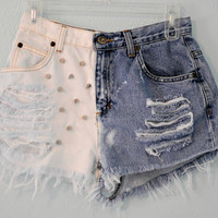 Vintage Levi High Waisted, Dip Dyed, Destroyed & Spiked Jean Shorts