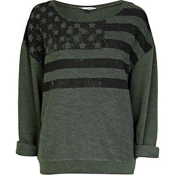 khaki american flag print sweat top