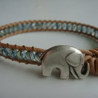 Teal Beaded Leather Bracelet, Elephant Button, Good Luck Charm
