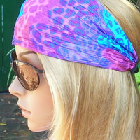 Women's wide hair band- Stretch Turban Headband -  urban turban head wrap headband purple, pink, turquoise Hot Colors
