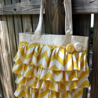 Ruffle Canvas Tote Bag- Yellow Chevron Print with Rosettes- Ready to Ship