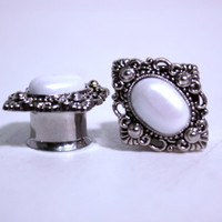 "Diamond Silver and Pearl Wedding Plugs 1/2 9/16 5/8 3/4 Inch 12mm 14mm 16mm 19mm 1/2"" 9/16"" 5/8"" 3/4"""