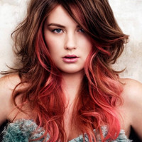 C O R A L I N A  coral pink colored human hair extension/ clip-in hair/ dip dye ombre (8) hair extensions