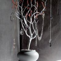 "Jewelry Holder Organizer Tree Silver Coral and Gray 23"" painted tabletop tree necklace hanger bedroom decor for her"