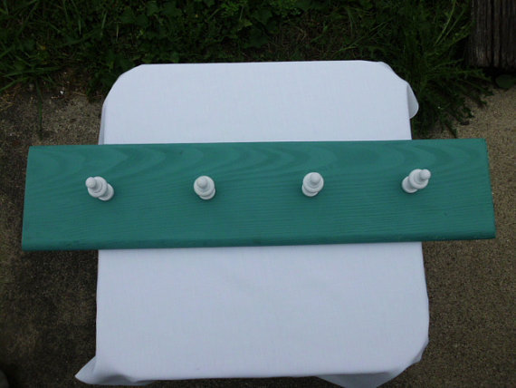 Primitive Coat Rack With Decorative White Wooden Knobs
